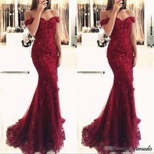 Burgundy Lace Appliques Mermaid Prom Dresses Vestido De Festa Beaded Off Shoulder Long Evening Gowns
