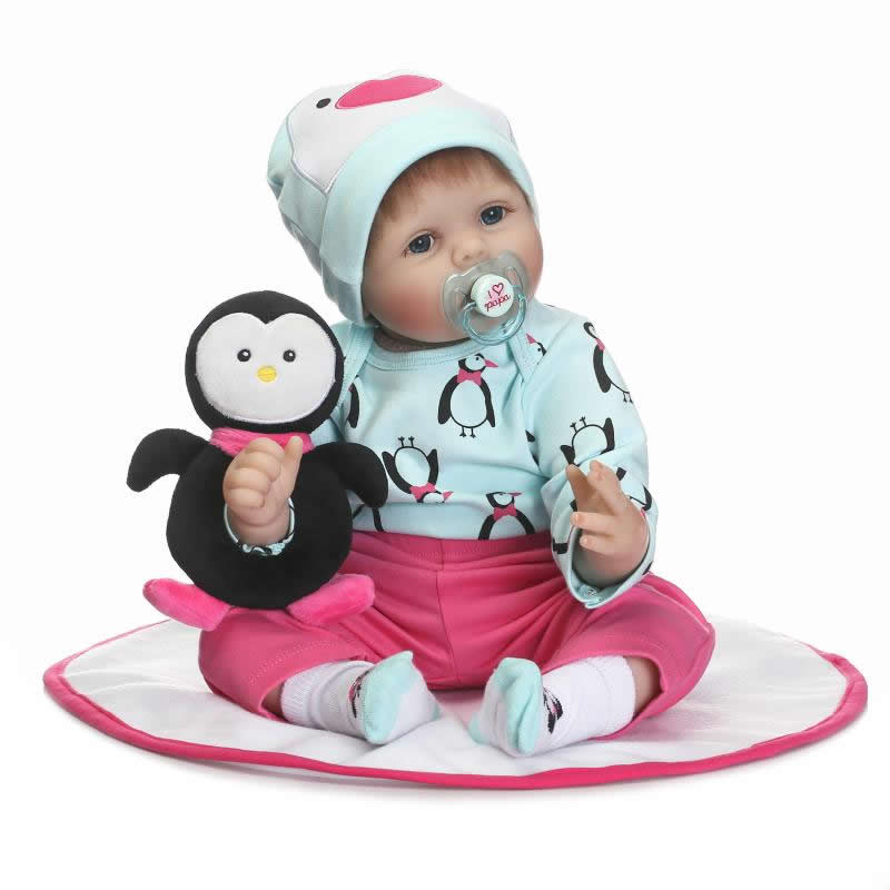 22'' Real Life Reborn Baby Dolls For Sale Soft Silicone Baby Stuff Babies Dolls Can Suck Pacifier Infant Toy Kids Birthday Gifts creative mustache style infant pacifier