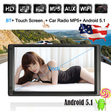 7 Universal 2 Din HD Touch Screen Car Stereo Radio Player GPS Navigation Multimedia Entertainment with BT WIFI AM/FM Android 5.1