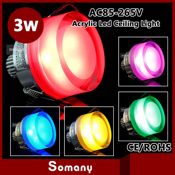 ФОТО Somany Disount 2pcs/lot Recessed Spotlight Party Flexible Neon Acrylic Glass 3W Multicolor Led Ceiling Lamp with Clamp Downlight
