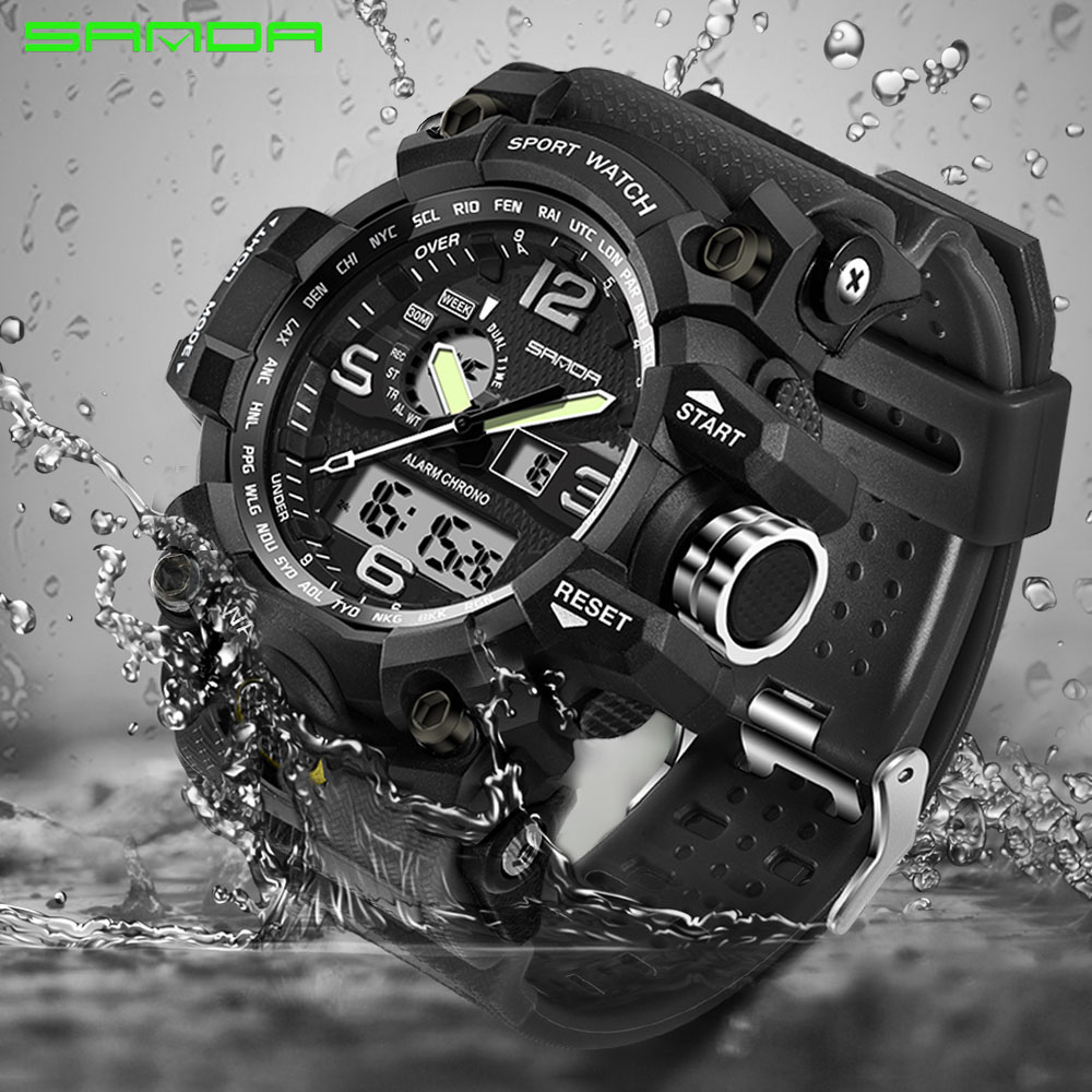 2017 SANDA Military Dual Display Digital Watch G Style Sport Military Shock Mens Wrist Watches Clock Men relogio masculino splendid brand new boys girls students time clock electronic digital lcd wrist sport watch