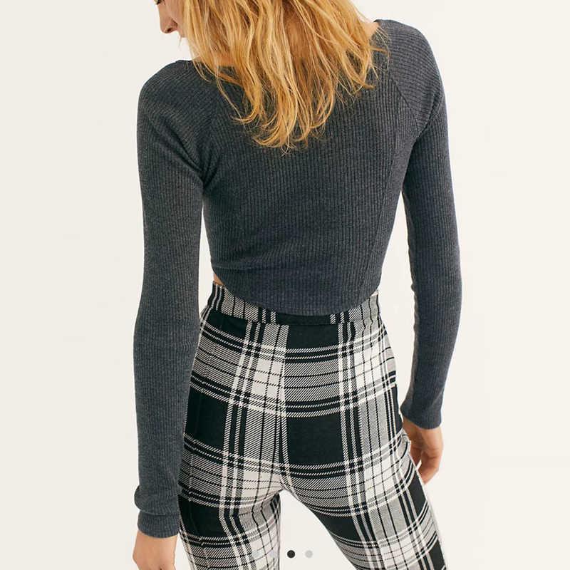 フロントシングルブレスト女性長袖作物スキニー底入れトップ tシャツ 3 色アメリカのカジュアルな女性ロングスリーブトップ tシャツ