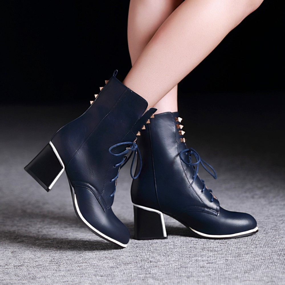2015 New Women Autumn Winter Retro Thick Mid Heel Rivets Lace Up Round Toe Fashion Ankle Martin Boots Size 34-39 SXQ0812 front lace up casual ankle boots autumn vintage brown new booties flat genuine leather suede shoes round toe fall female fashion