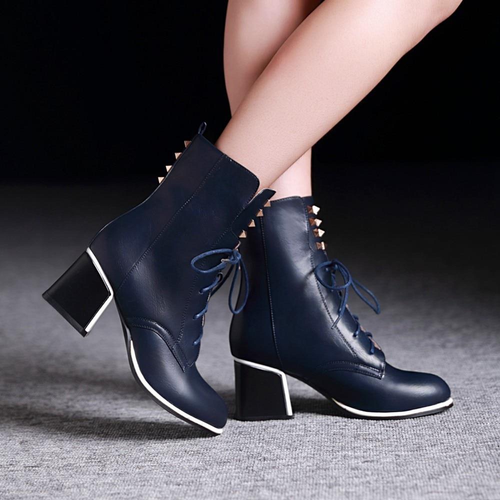 2015 New Women Autumn Winter Retro Thick Mid Heel Rivets Lace Up Round Toe Fashion Ankle Martin Boots Size 34-39 SXQ0812 2017 new anti slip women winter martin