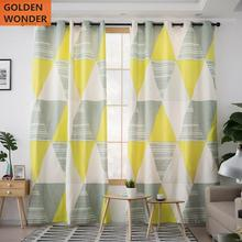 Modern Diamond Pattern Simple Yellow Curtains For Living Room Bedroom Window Curtain Shading