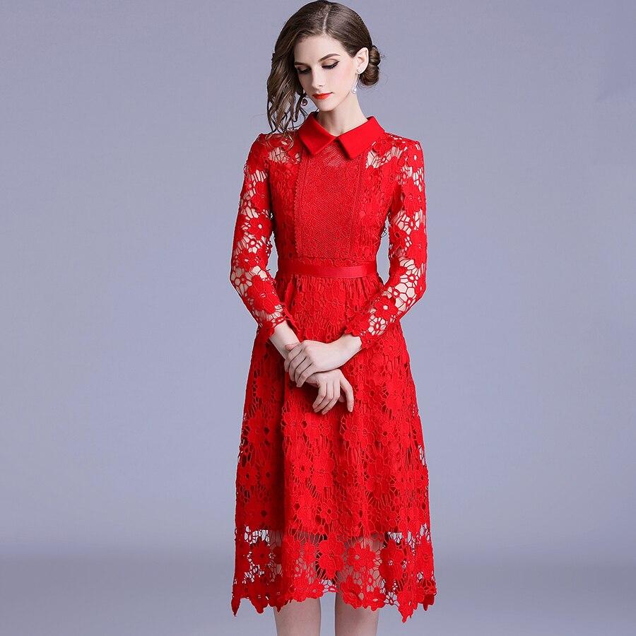Nouvelle mode à manches longues rouge dentelle robe 2018 femmes col rabattu évider Vintage Slim robe De soirée a-ligne Vestidos De Festa - 2