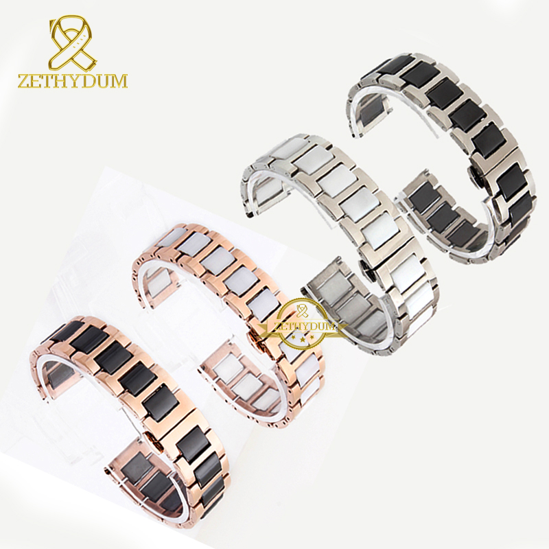 Ceramic Bracelet In Stainless Steel Watchband Watch Strap Women Man Wristwatches Band 12 14 16 18 20 22mm White Butterfly Buckle
