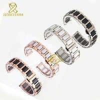 Keramik armband in edelstahl armband uhr strap frauen mann armbanduhren band 12 14 16 18 20 22mm weiß schmetterling schnalle