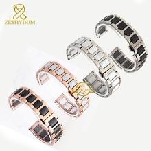 Keramische Armband In Roestvrij Staal Horlogeband Horlogeband Vrouwen Man Horloges Band 12 14 16 18 20 22 Mm Wit vlinder Gesp