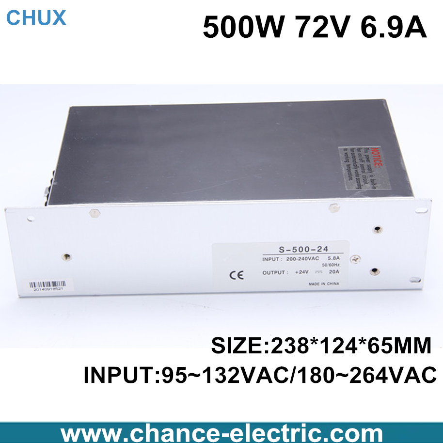 High power switching power supply 500W 72V 6.9A switching power supply AC to DC for LED strip light (S-500-72) meanwell 12v 350w ul certificated nes series switching power supply 85 264v ac to 12v dc
