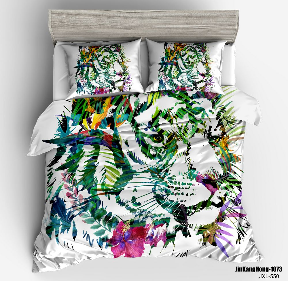 3d Animal Duvet Cover King Queen Size Tiger White Green