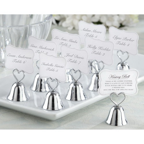 Place Card Holders Wedding | Silver Heart Bell Place Card Holder Wedding Favors With Matching