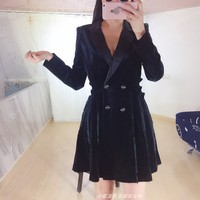 Новое платье костюмы светская Мода шикарный черный бархатный костюм Тип куртки