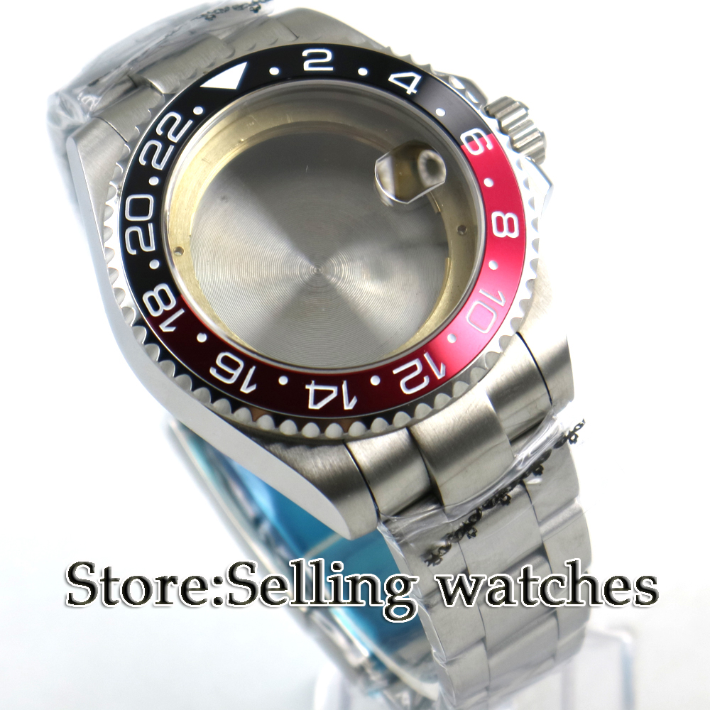 43mm sapphire glass Black red bezel Watch Case fit 2824 2836 MOVEMENT цена и фото