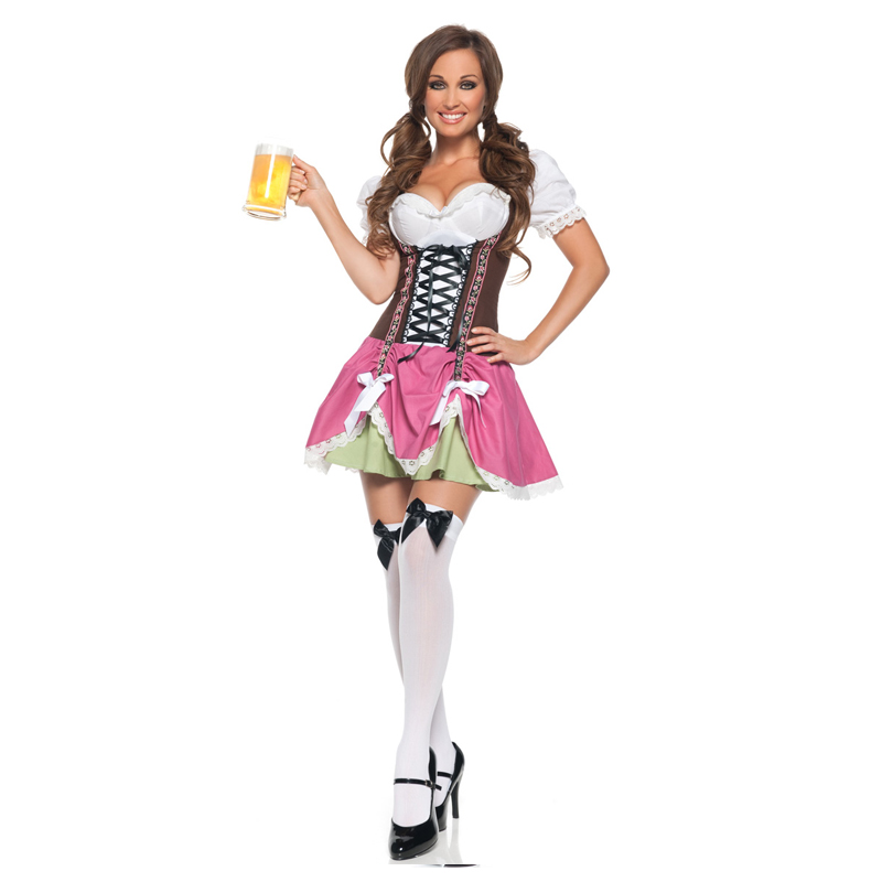 Vocole Women Swiss Girl Oktoberfest Costume Bavaria Beer Girl Fantasia Party Uniform