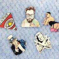 1 PC Cartoon Celebrity Shaped Badge Kawaii Harajuku Acrylic Pin Acrylic Badges Backpack Decoration