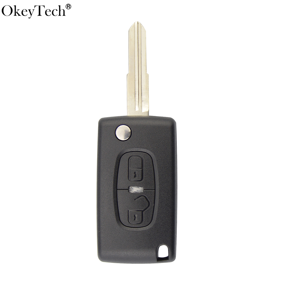 OkeyTech High Quality Flip Car <font><b>Key</b></font> Shell For <font><b>Peugeot</b></font> <font><b>4008</b></font> 3008 407 307 Case Fob For Citroen 2 Buttons Switchblade Folding <font><b>Key</b></font> image
