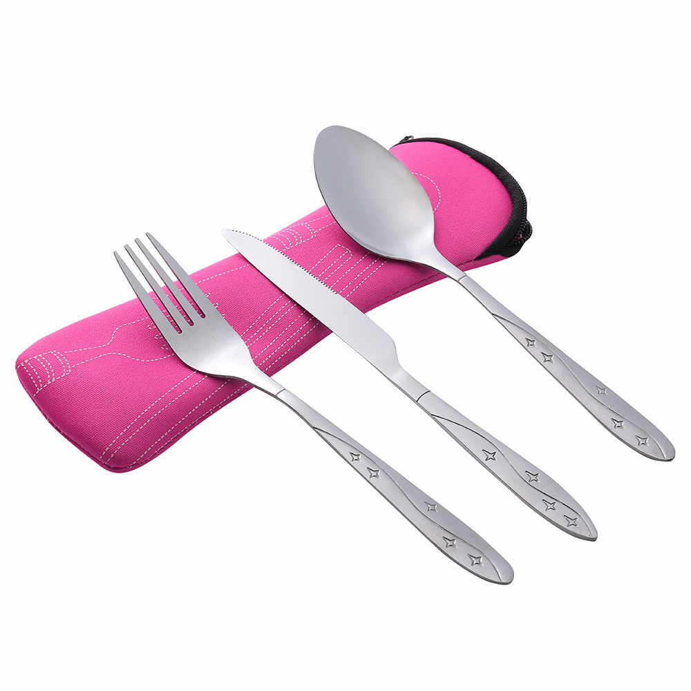 3 Pcs Stainless Steel Knifes Fork Spoon Family Travel Camping Cutlery Eyeful HandyDesign Restaurant Home Western/Chinese19MAR13