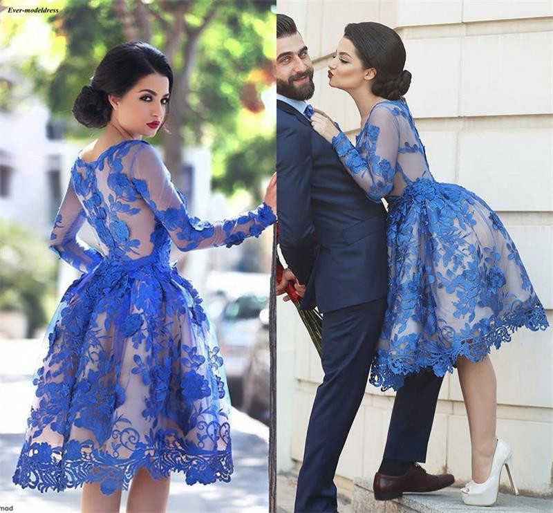 Royal Blue 2019 Long Sleeves   Cocktail     Dresses   Scoop Lace Appliques Illusion Arabic Knee Party Gowns A-Line Plus Size Robes