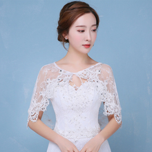 white petticoat Boat neck plus size Wraps Lace up wedding dress outside jupon girl accessories bolero lace