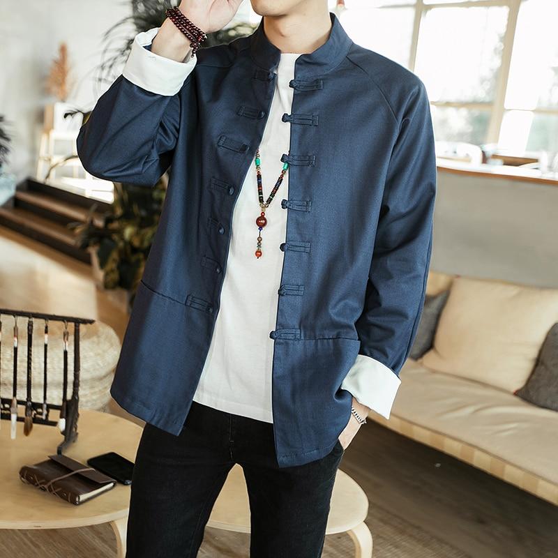 6de1e9bbf76 Модная повседневная мужская куртка весна и осень Новый M-5XL сплошной цвет  свободная рубашка куртка