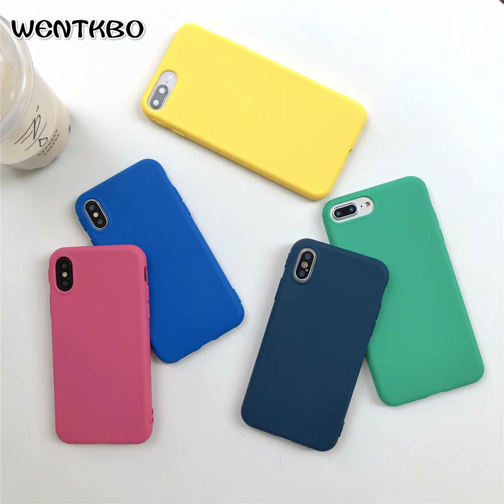 Popular Rainbow Color Soft Silicone Phone Cases For iPhone X Case New Plain TPU iphone 7 8 6 6s SE XS MAX Plus Matte Covers