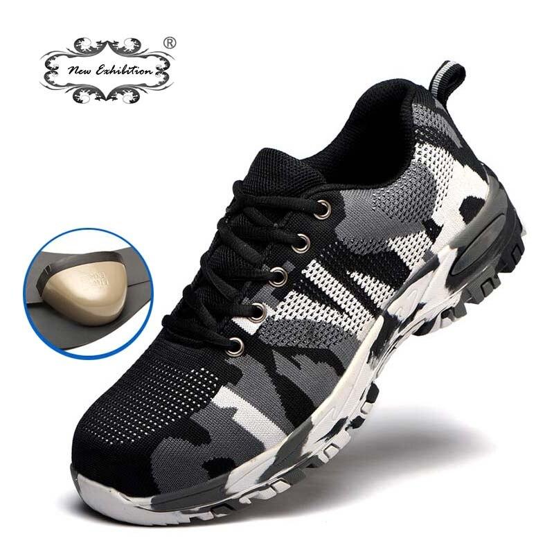 Nueva exposición zapatos de seguridad de protección para hombres anti-piercing más tamaño exterior de acero puntera militar camuflaje ejército botas de trabajo