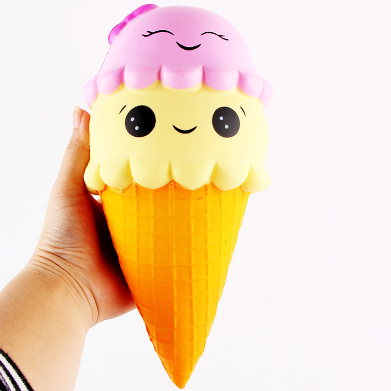 22CM Phone Strap Decoration Squishy Slow Rising Kids PU Simulation Double-headed Smiley Ice Cream Toy