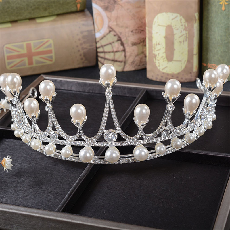 Snuoy Pretty Pearl comb Tiara Rhinestone Pageant Crowns Medieval Silver Hair font b Jewelry b font