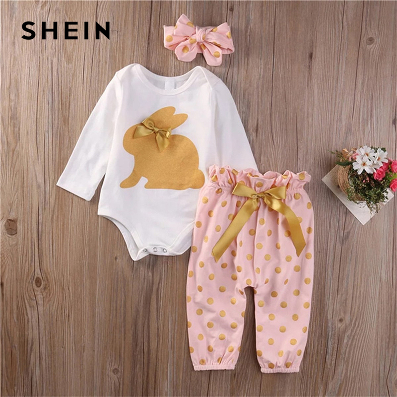 SHEIN Kiddie Toddler Girls Rabbit Print Jumpsuit And Pants With Headband Clothes Suit 2019 Long Sleeve Bow Casual Kids Sets shein kiddie toddler girls hoodie and floral print pocket drawstring pants with headband girls set long sleeve casual girl suit