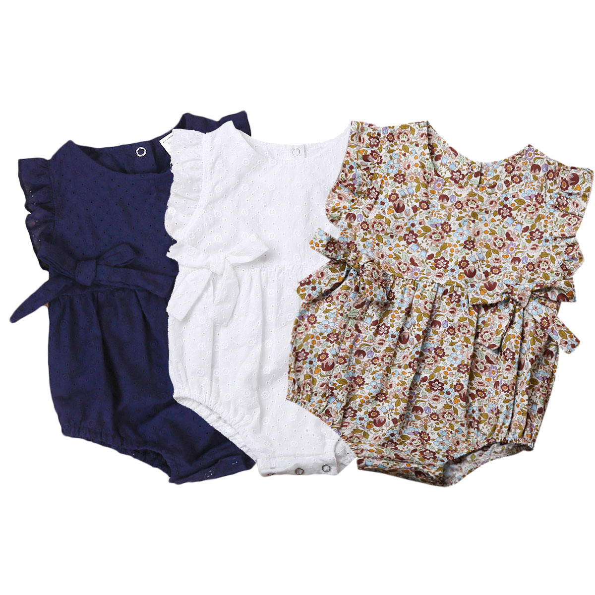 Summer Flower Baby Girls Ruffles Romper Infant Newborn Baby Jumpsuit Playsuit Bow Baby Clothes(China)