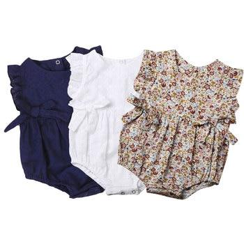Summer Flower Baby Girls Ruffles Romper Infant Newborn Jumpsuit Playsuit Bow Clothes