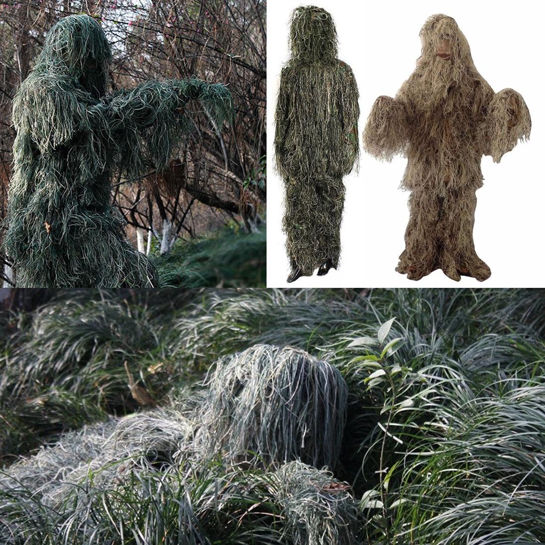 Hot New Réglable Taille Unisexe Camouflage Costumes Woodland Vêtements Ghillie Costume Pour La Chasse Armée Militaire Tactique Sniper Set Kits