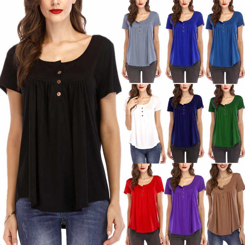 T Shirt Vrouwen Europese Amerikaanse Vrouwen 2020 Hot Geplooide Knop Losse Korte Mouwen Plus Size T-shirt Vrouwen Vestidos SY180518