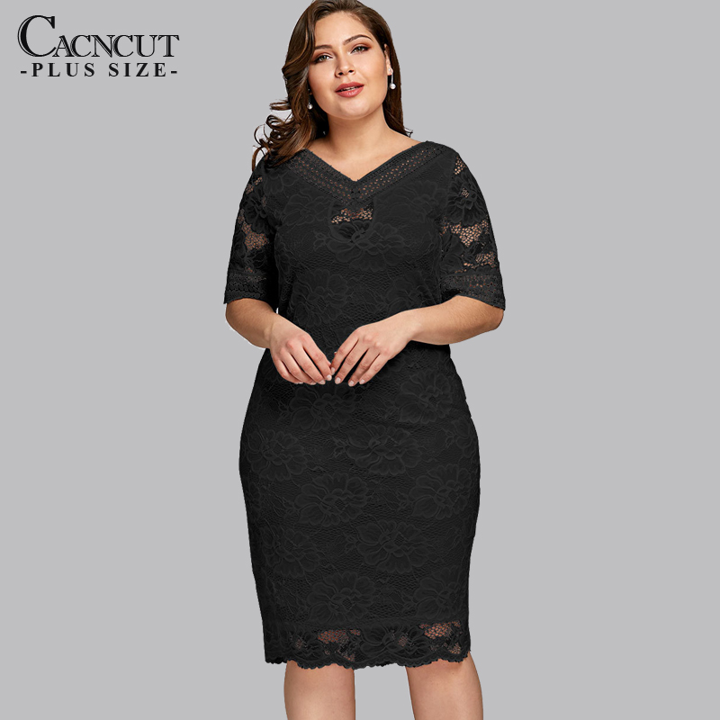 XL-5XL 2019 Autumn Plus Size Lace Dress Hollow Out Women Elegant V Neck Office Bodycon Dress Lady Sexy Large Size Party Vestidos