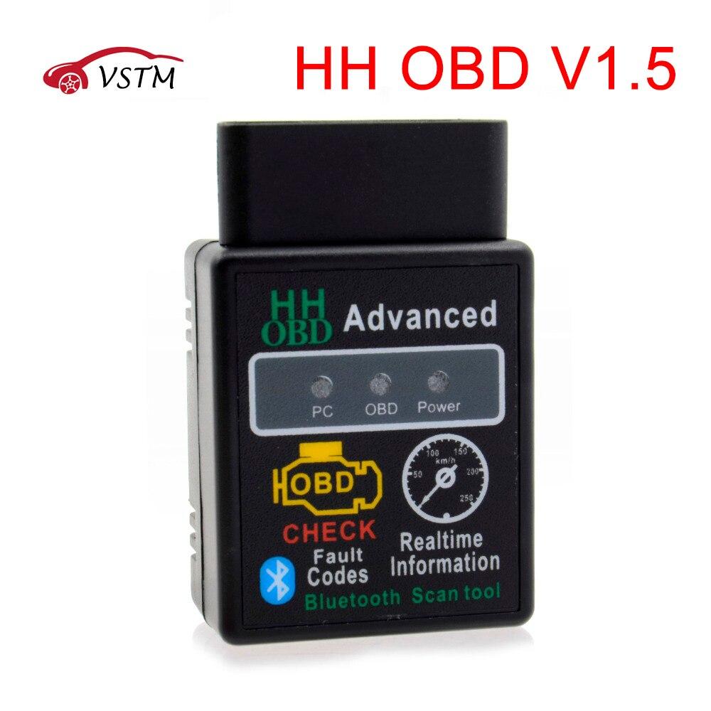 Chip 25K80 Version 1.5 ELM327 HH OBD Advanced OBDII OBD2 bluetooth adapter Mini ELM327 hhobd  Auto CAN Wireless Adapter Scanner