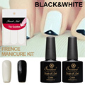 Saviland 2pcs 10ml Soak Off Long Lasting Black White Color UV Gel Nail Polish Free Tip Guides French Sticker Manicure Set