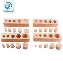 Wooden Toys Montessori Education Cylindrical Sockets Block Toys Baby Development Practice & Senses Family Toys