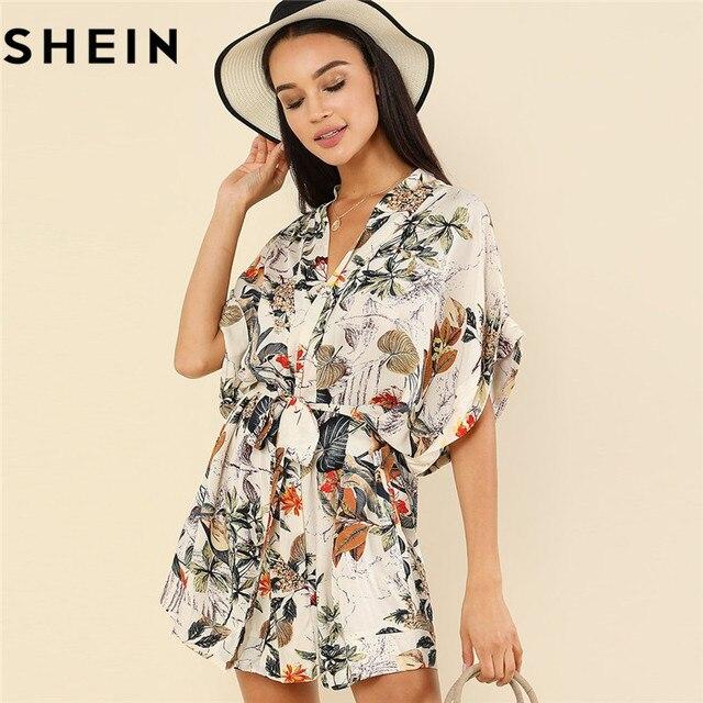 fc9d5013f2 SHEIN Boho V Neck Short Batwing Sleeve Loose Beach Mini Dress 2018 Women  Summer Vacation Tropical Botanical Print Belted Dress
