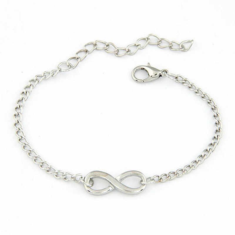 2020 New Fashion Link Chain kobiety mężczyźni Handmade prezent urok 8 kształt biżuteria bransoletka nieskończoność Siver i złoto # YY