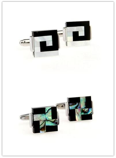 10pairs/lot Cufflinks Silver Square Sea Shell Pearl/Abalone Shell With Black Onyx Cuff Links Business Style Men's Jewelry