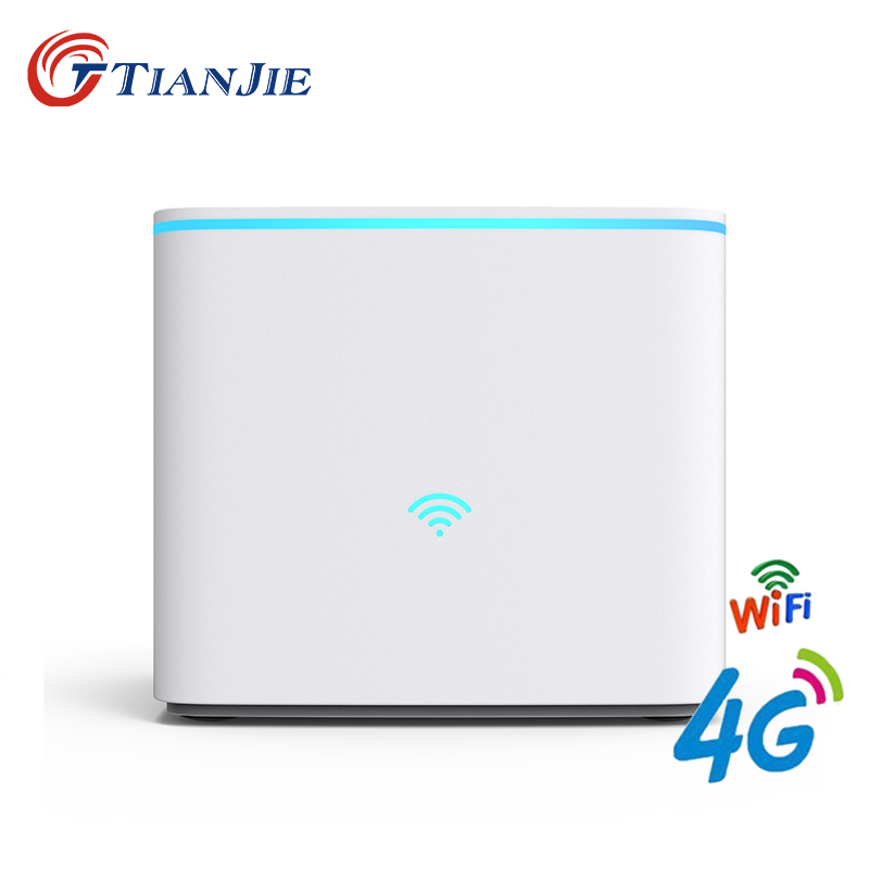 TIANJIE R102 3 x RJ45 Ports router 4G LTE FDD/TDD cellular home router 3G WCDMA/UTMS/HSPA wireless WiFi with sim card slot tianjie fdd lte gsm 4g wifi router portable global unlock dongle wireless modem two sim card slot rj45 port 5200 mah power bank