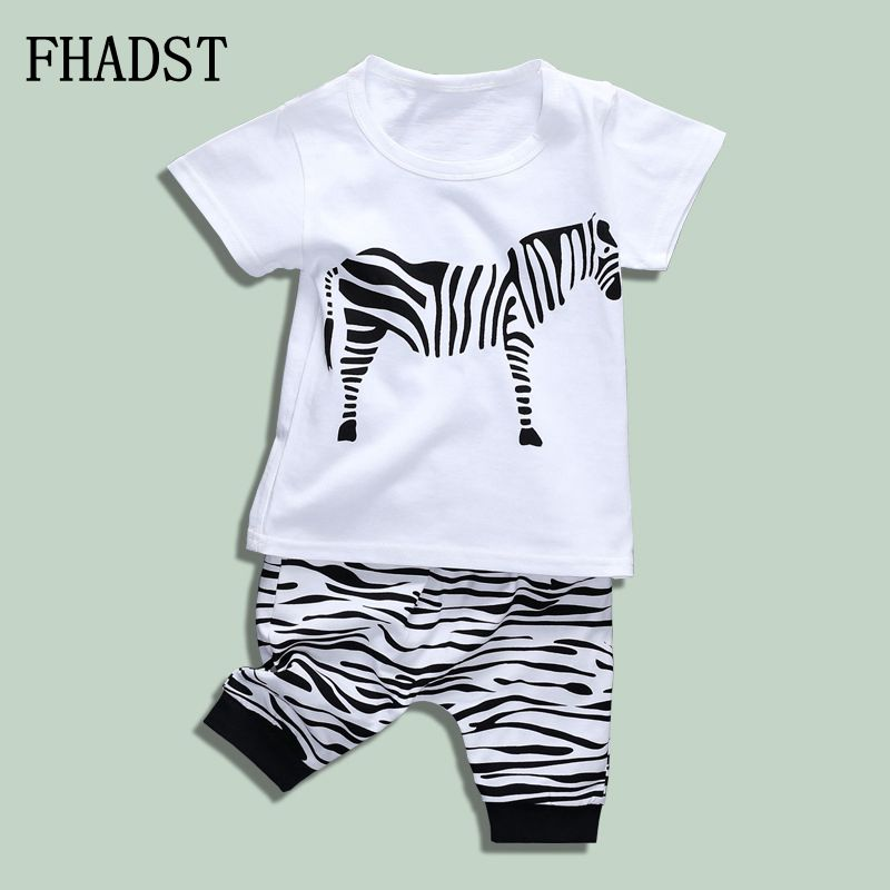 FHADST 2017 Summer Baby Boys Clothing Set Shorts Children Kids Clothes Cotton Sets Pullover Black And White Worsted Cool Clothes