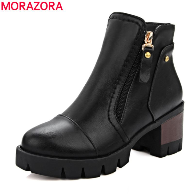 MORAZORA Women boots 2018 hot sale top quality PU ankle boots for ladies med heel round toe platform solid short boots black new arrival 34 40 2016 winter ankle boots for women med heels round toe platform solid casual ladies unique boots