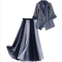 Top Grade Designer Clothing Suits 2019 Spring Women Lapel Stripe Jacket Suit Blazer+Long Mesh Skirt Sets