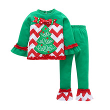 Kids New Fashion Clothes Sets For Girls Chiristmas Tree Print Long Sleeve Shirts + Stripe Pants Children Winter Outwear Sets