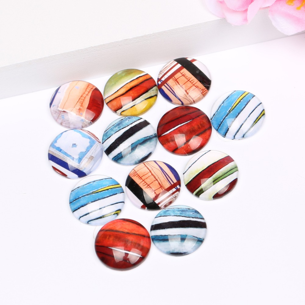 reidgaller 20pcs pattern photo glass cabochon 20mm mixed round dome flatback jewerly findings for earrings pendants making