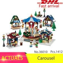 Lepin 36010 1412pcs Christmas series Winter Village Market Carousel Model Building Blocks Bricks Toys For Children 10235