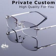 f5d9fecf27 Diamond Trimmed Eyeglasses Men Rimless Reading Glasses Frame Tint Lens High  Quality Optical Myopia Prescription Spectacles Male
