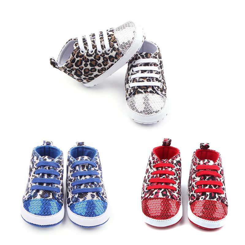 Toddler Girls Baby Shoes Cack Leopard First Walker Kids Prewalker Shoes Girls Bowtie Paillette Lace-up Shoes